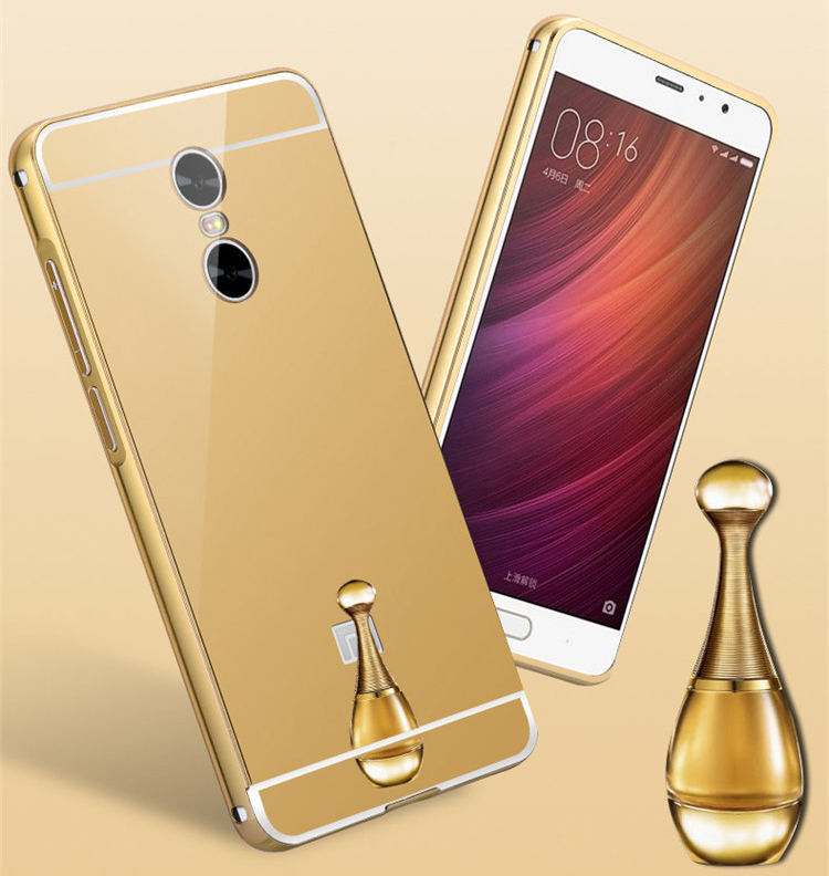 Luxury metal alumium bumper electroplate mirror phone case for redmi note 4x cover