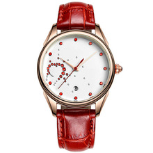 Cheap promotion item Novelty IPG alloy case red stones dial calendar red pu strap sl68 watch movement factory