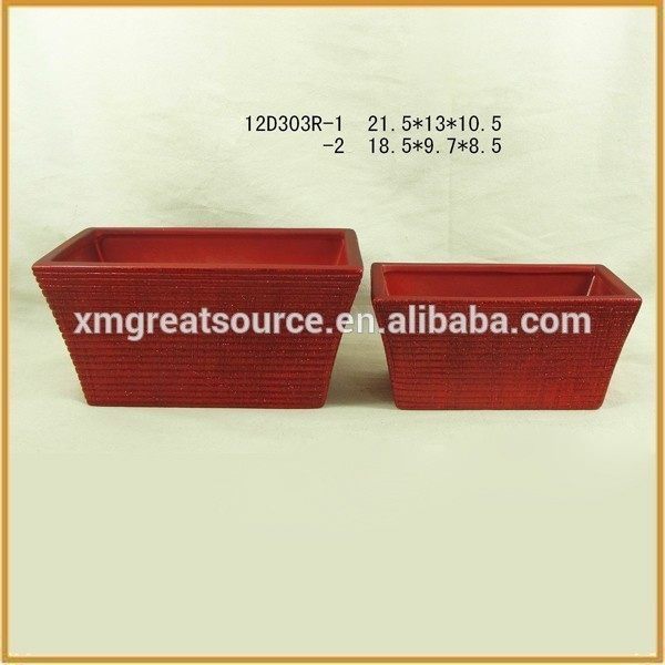 Low price high quality china handmade rectangle flower pot