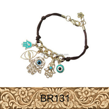 Fashion Jewelry Black Weaved String Bracelet With Evil Eye And Palm