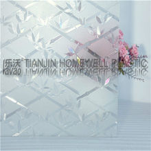 two way glass film Transparent self-adhesive foil Frosted glass window film L006 3D 0.3mm deep embossing