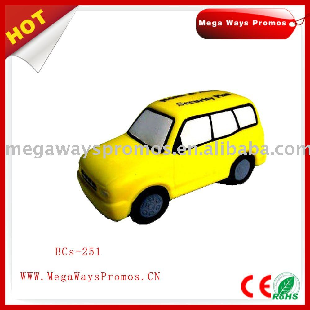 popular cheap yellow pu mini car foam stress ball toy for promotion