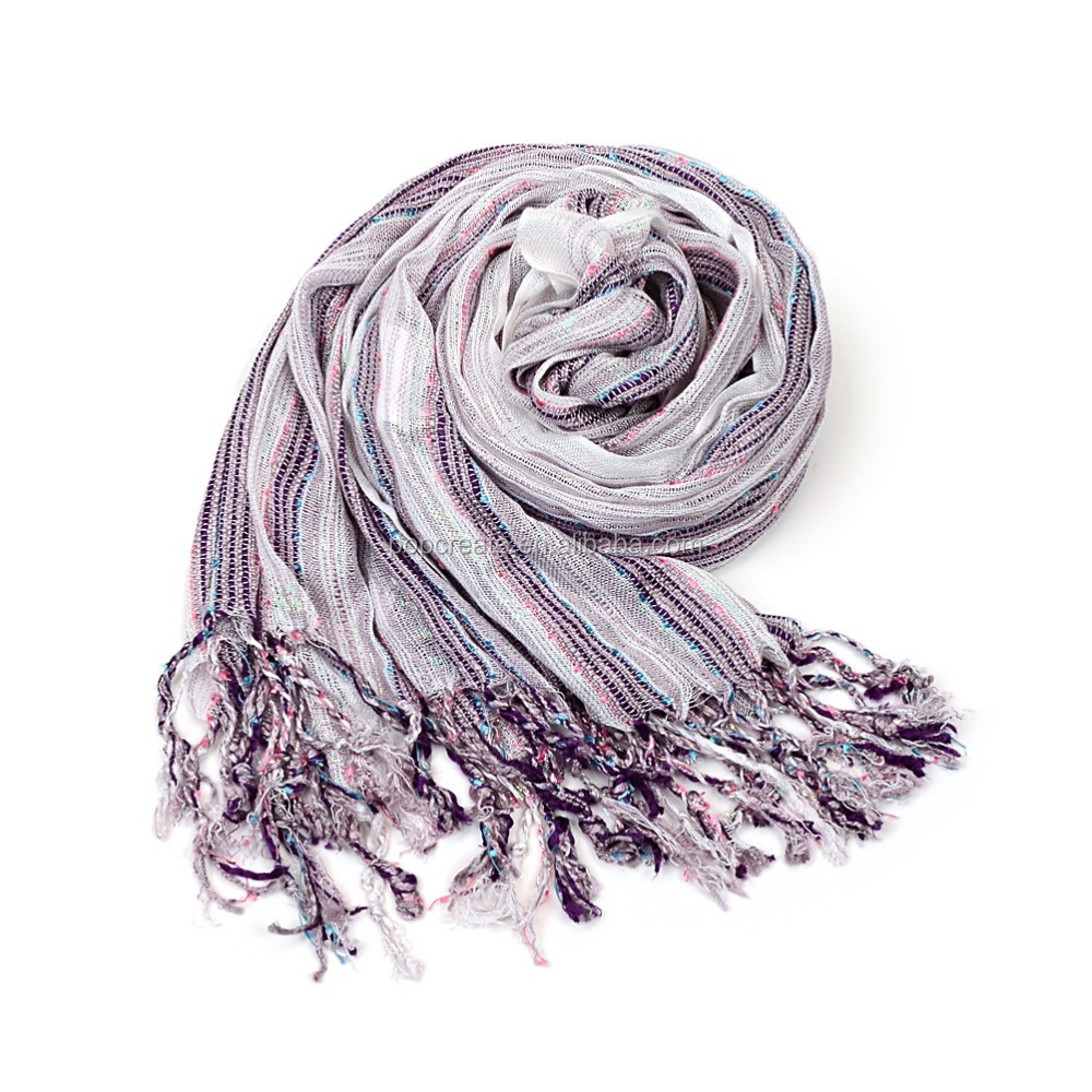 Fashion multi lines crossed lady cotton scarf wholesale
