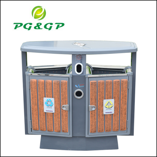 Steel wood trash bin factory sell 2014