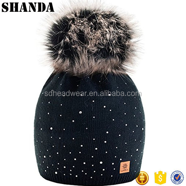 Women Ladies Winter Beanie Hat Wool Knitted with Small Crystals Large Fur Pom Pom Cap SKI Snowboard Hats