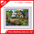 flower and garden in spring 100% precise cross stitch kit for embroidery 54*40cm