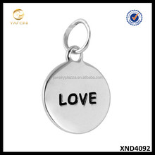 Hot Sale Silver Disc 925 Sterling Silver Pendant Black Engraved Love Charm