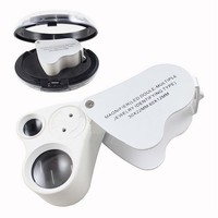 New 30x 60x Dual Lens Jewelers Eye Loupe Illuminated 2 LED Light Glass Magnifier 9889 of type folding mirror jewelry