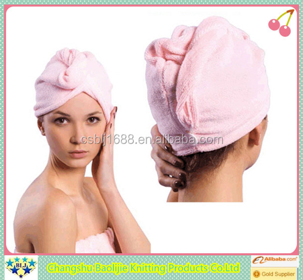 Changshu Supplier Pink Color Bath shower caps bathroom quick dry head towel set