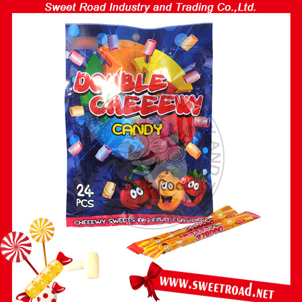 Double Chewy Sweet Candy in Three Fruit Flavor