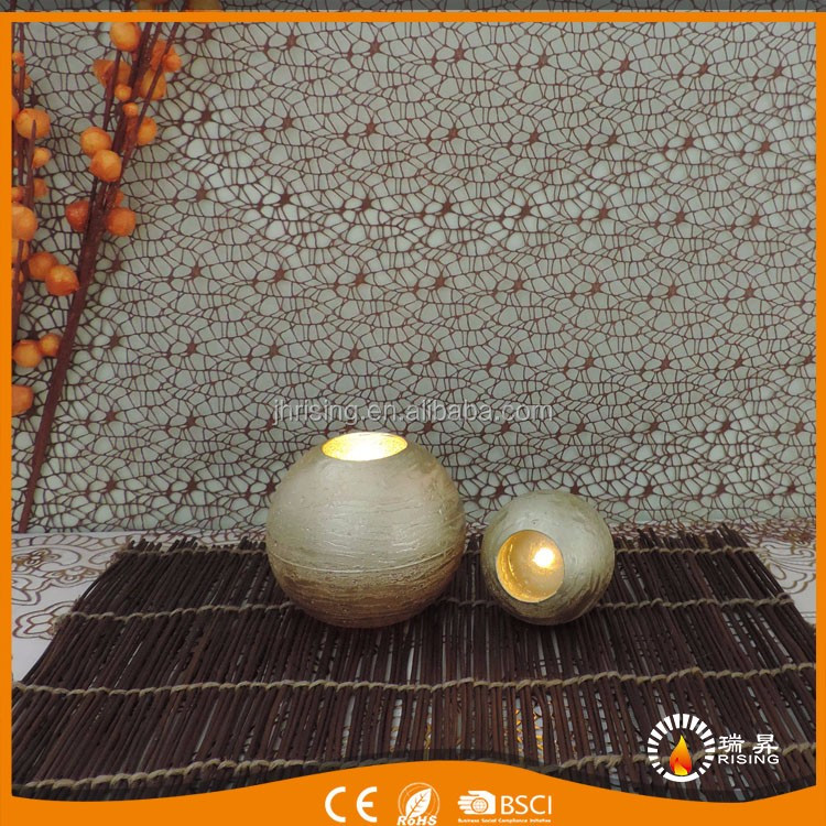 factory 2017 metallic led round gold metallic large ball candles
