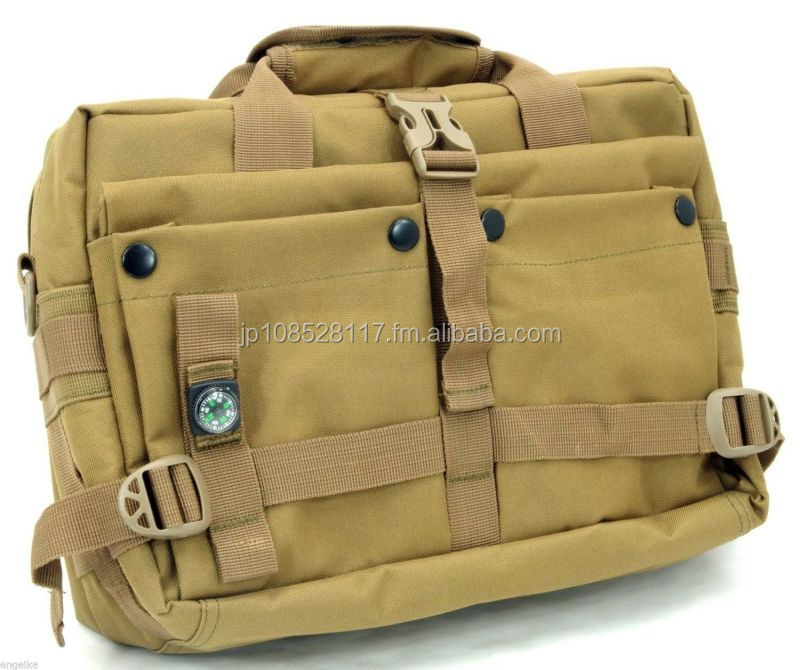 WANCHER Outdoor Military Rough & Tough 2 Way B5 Size Messenger Bag Brown Color