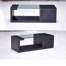 Luxury Office furniture Square Glass Top Coffee Tables