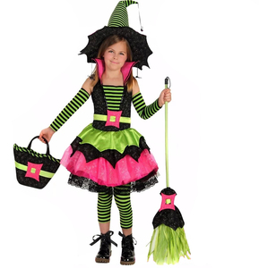 Kids Carnival Party Dresses Cute Witch Hat Halloween Children Costumes