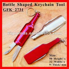 (GFK-2731) Beer Bottle Shape Multi Can & Bottle Opener Keychain Tool