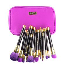AY Top quality animal hair Professional 15 PCS Cosmetic Facial Make up Brush Kit in romantic purple color