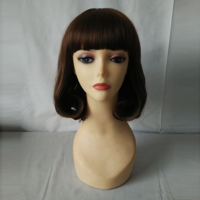 Hot Selling Women Fashion Short Brown Daily Wigs Synthetic Wigs