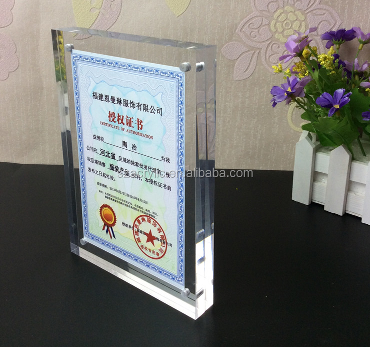 display certificate block acrylic magnet photo frame