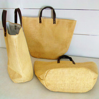 woven straw weaving tote bag with leather handle