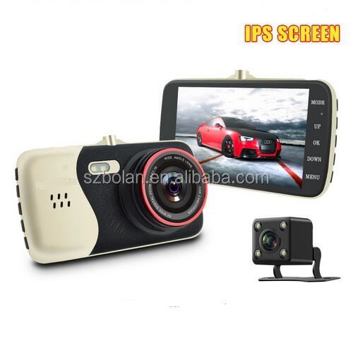 BOLAN 4.0 inch IPS Screen Full HD 1080P 170 Degree Dash Cam Dual Lens Car DVR Camera with Nigt Vision Reverse Camera