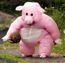 Hot sale lovely pink inflatable pig mascot walking costume