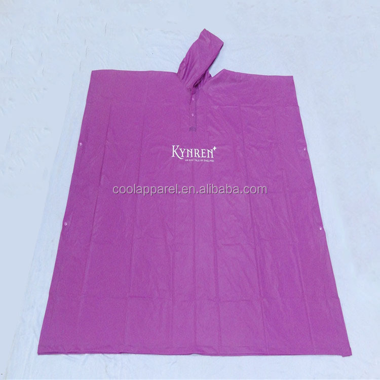 cheap adult pvc purple rain poncho with logo printing for advertising