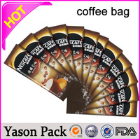 Yason shinning silver ziplock tear notch pill cookie candy coffee bean packaging pouches coffee bean bag bottom gusset bags for