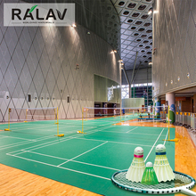 Good Elasticity Ralav Brand Litchi Grain PVC Sports Flooring Indoor Badminton Court Flooring