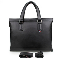 7327A Genuine Soft Leather Black Handbag High End Men Laptop Bag