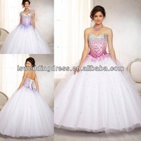 HQ2071 White ombre beaded bodice on a tulle ball gown strapless sleeveless corset ball gown quinceanera dresses little girls