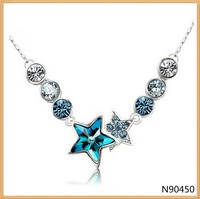 Women Popular Fashion Necklace Star Ball Crystal Necklace