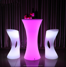 New design led light round table portable led illuminated cocktail table