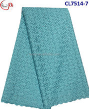 CL7514-7- turquoise New design swiss voile lace and elegant cotton lace with stones for dress and garments