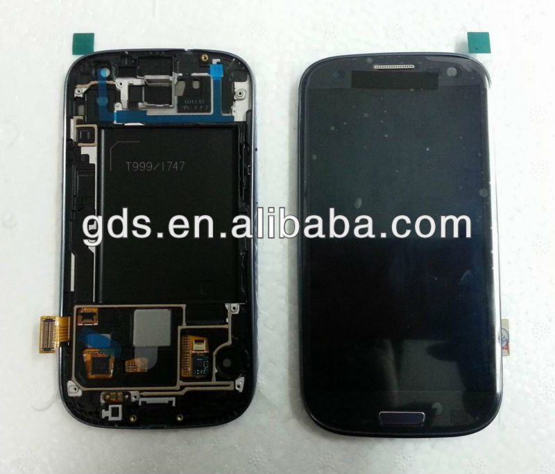For samsung Galaxy SIII 3 T999 i747 BLUE Lcd/Digitizer with Frame