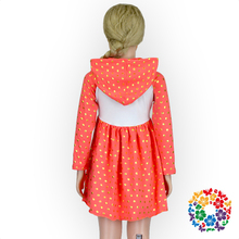 Lovely Gold Dots Print Orange Dresses Long Sleeve Girls Frocks With Hood Kids Beautiful Model Dresses