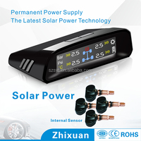 Shenzhen Zhixuan OEM solar power wireless tire pressure monitoring system, 4-internal tpms sensor tire pressure monitor
