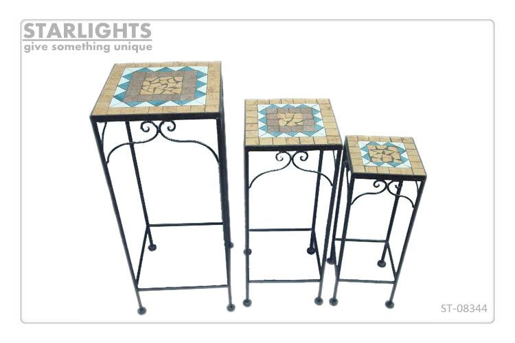 New design square mosaic tile flower stand for garden