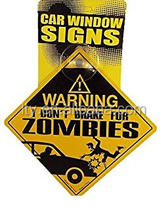 car suction cup window warning signs with head card