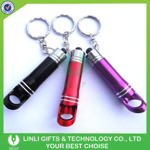 Cheap promotion aluminium 3 led bottle opener pocket light keyring