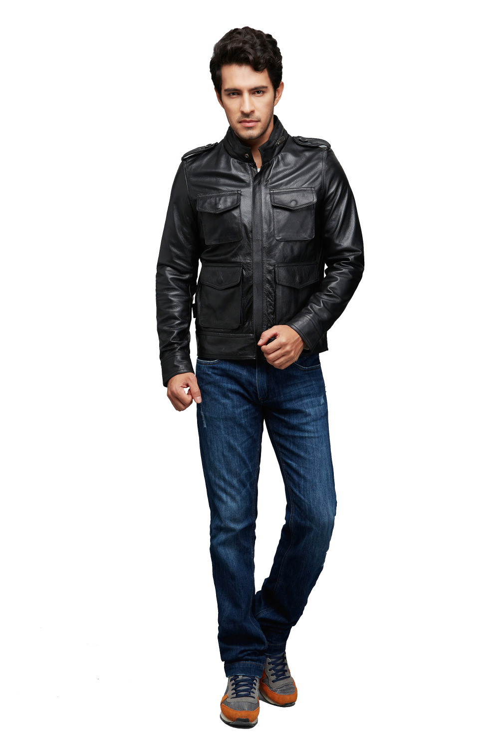 AK Leatherware Authentic New Fashion Men Genuine Cow Hides Leather Jacket with Epaulet