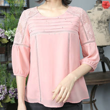 Wholesale fashion women casual hollow out ladies chiffon tops