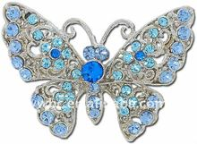 antique silver plated Austrian crystal rhinestone butterfly brooch pin