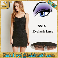 SS16 Latest plain fashion eyelash lace net casual dress designs