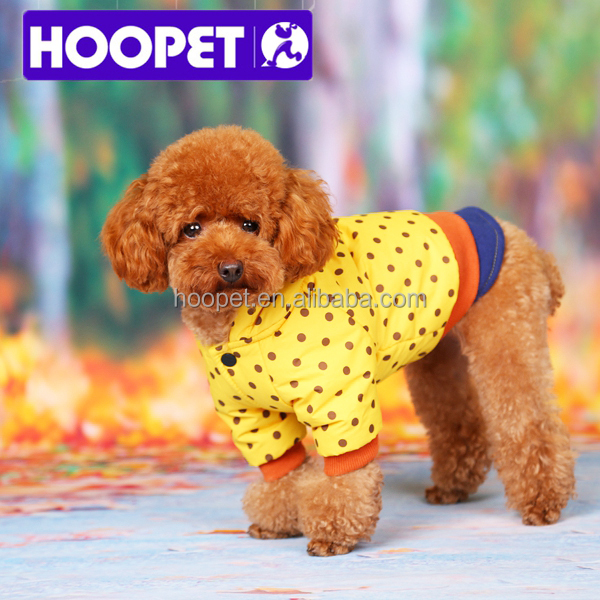 Pet winter clothes yellow dot pattern dog skiing coat dog apparels
