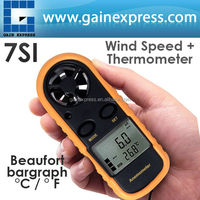 Mini Digital Anemometer Thermometer Air Wind Flow Velocity Speed Temperature Meter Bar Graph Degree Celsius