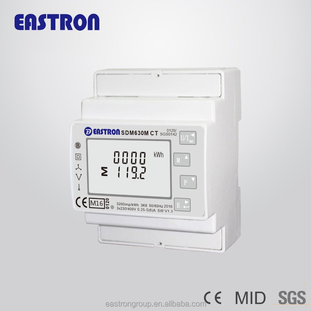 SDM630MCT 5A / 1A CT connect three phase digital smart electricity meter