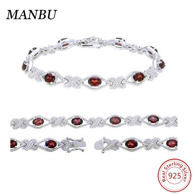 Sterling Silver Garnet Bracelet Fashion Rhodium Plating Semi Precious Gemstone Garnet Tennis Bracelet