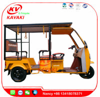 KAVAKI Factory 1000W 60V 32A power adult electric passenger rickshaw 3 wheel car with solar panels rickshaw tuk tuk
