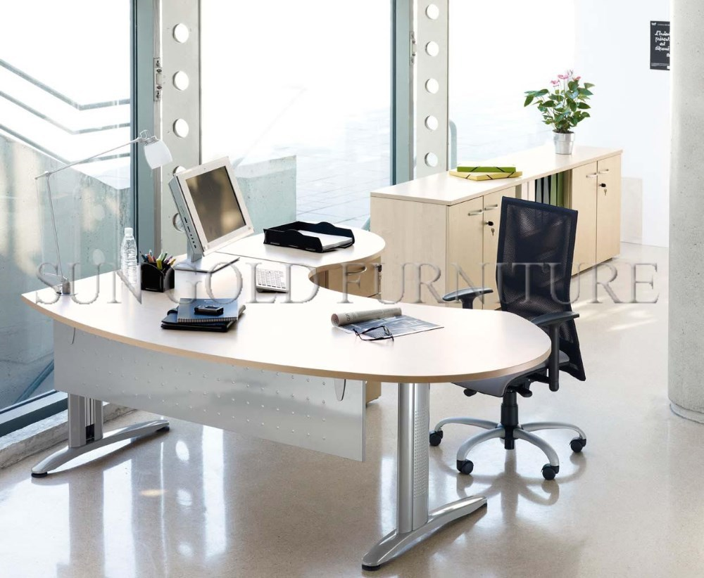 modern small office table set curved office desk for