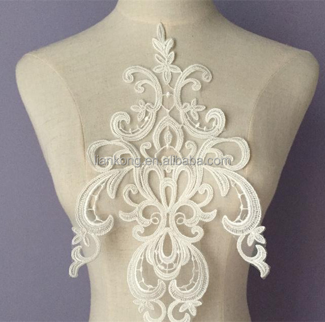 Wholesale exquisite bridal lace applique Embroidery Lace White Applique